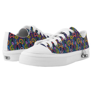 Peace Beat / Custom Zipz Low Top Shoes (Blue)