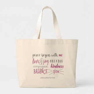 Peace Begins with Me Tote Jumbo Tote Bag