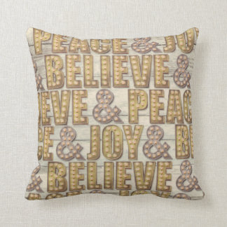 Peace Believe & Joy Marquee Light Christmas pillow