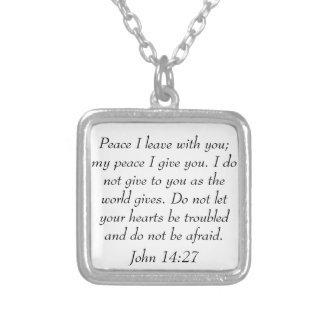 Peace bible verse John 14:27 necklace
