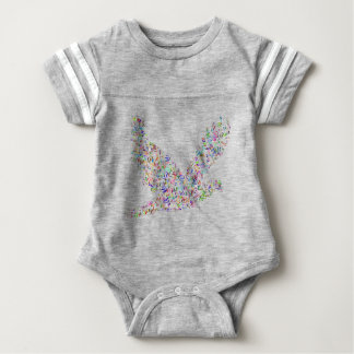 Peace bird flying in harmony and cooperation baby bodysuit