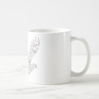Peace bird flying in harmony and cooperation coffee mug