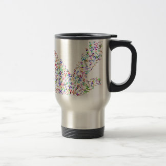 Peace bird flying in harmony and cooperation travel mug