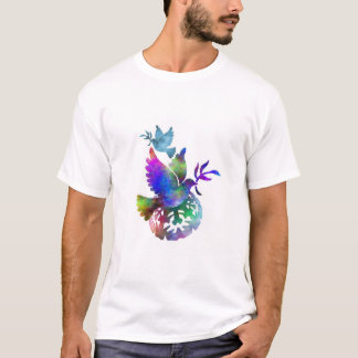 Peace Birds Colorful Dove With Twig T-Shirt