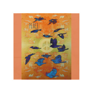 Peace Birds Wood Wall Art