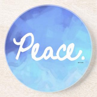 Peace Blue Water Color Coaster