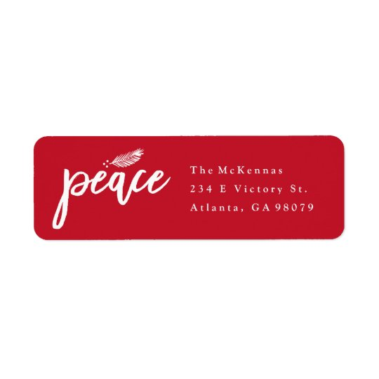 Peace branch christmas return address label