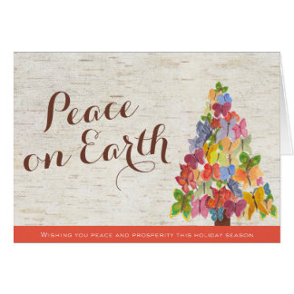 Peace Butterflies Folded Business Christmas Card
