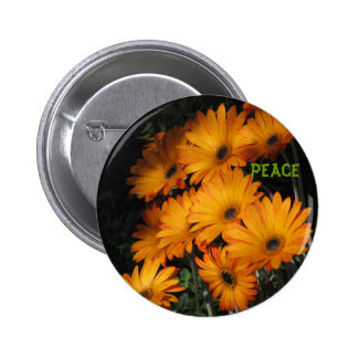 Peace Button - Orange Daisies