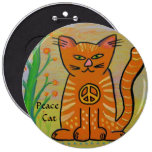 Peace Cat with Flowers 6 Cm Round Badge