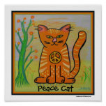 Peace Cat with Flowers Poster