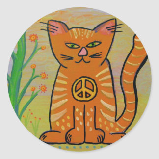 Peace Cat with Flowers Round Sticker