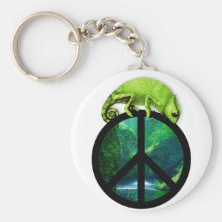 peace chameleon basic round button key ring