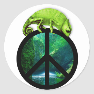 peace chameleon round sticker