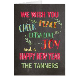 Peace, Cheer, Joy,  New Year Card