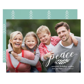 Peace Christmas Handwritten Script White Overlay Card