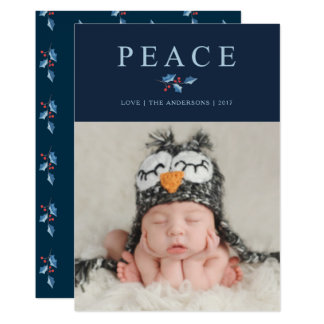Peace Christmas Watercolor Holly Branch Holiday Card