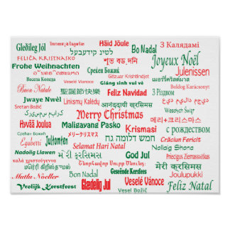 Peace Coexist Happy Merry Christmas Many Languages Poster