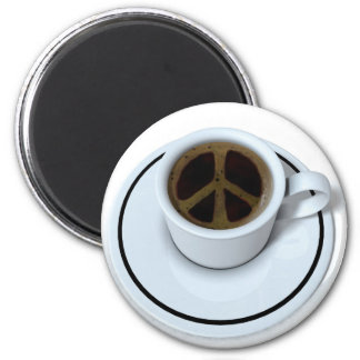 Peace coffee 6 cm round magnet