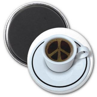 Peace coffee 6 cm round magnet