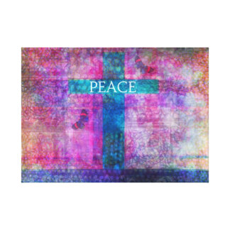 PEACE CROSS Contemporary Christian art print Stretched Canvas Prints