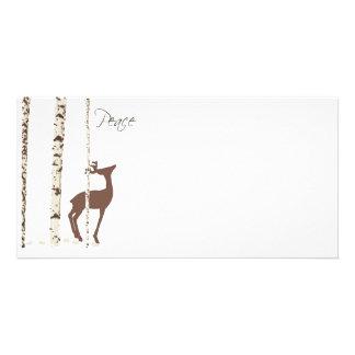 Peace, Deer & Birch {Horizontal} Custom Photo Card