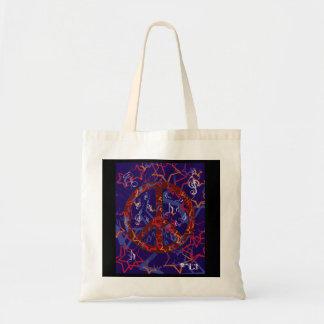 Peace design (Brown and Blue) Tote Bag