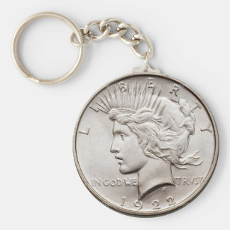 Peace Dollar Basic Round Button Key Ring