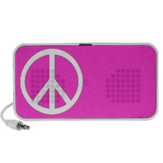 Peace Doodle - customizable background color Travel Speakers