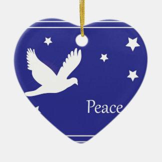 Peace Dove Ceramic Heart Decoration