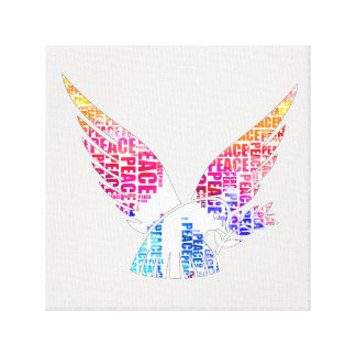 Peace Dove. Harmony Hippie Watercolor Canvas Print