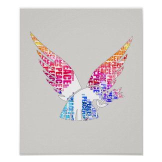 Peace Dove. Harmony Hippie Watercolor Poster