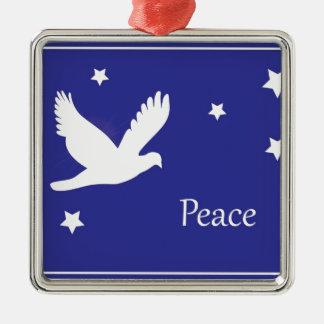 Peace Dove Silver-Colored Square Decoration