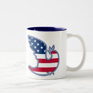 Peace Dove. USA Patriotic Design Gift Mugs Two-Tone Mug