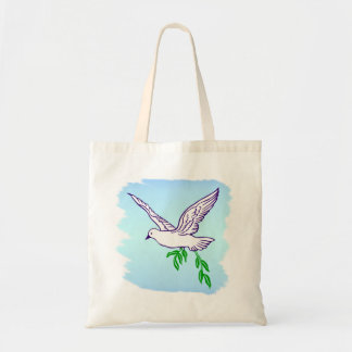 Peace Dove with Olive Branch Beach Tote