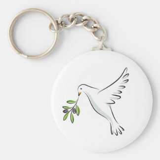 Peace dove with olive branch key ring