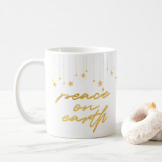 Peace Earth Gold Hand Lettered Holiday Coffee Coffee Mug
