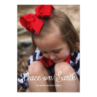 """Peace Earth Holiday Photo Modern Christmas Red 5"""" X 7"""" Invitation Card"""