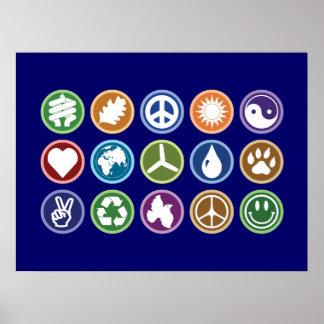 Peace Eco Symbols Posters