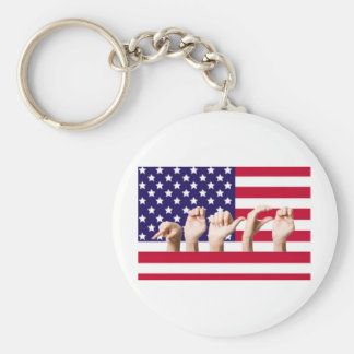 Peace Flag in ASL Basic Round Button Key Ring