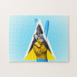 Peace Flag of Saint Lucia. Jigsaw Puzzle