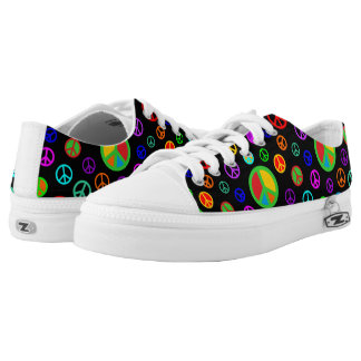 PEACE - Flat pattern multicolored + your backgr. Low Tops