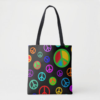 PEACE - Flat pattern multicolored + your backgr. Tote Bag
