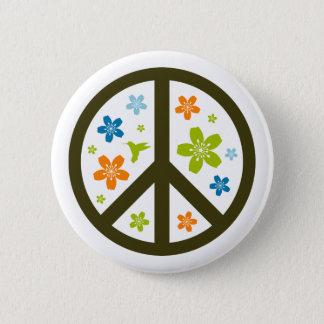 Peace Floral Design 6 Cm Round Badge
