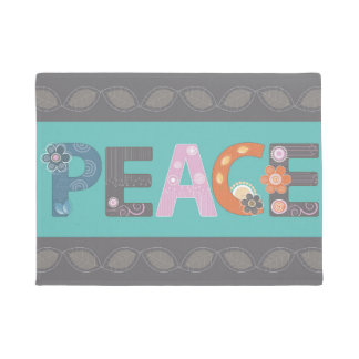 Peace Floral Design Doormat