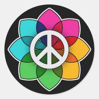 Peace Flower Round Sticker
