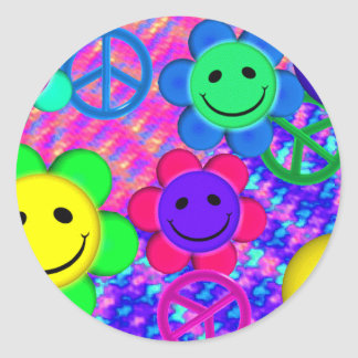 Peace Flower Smilies Classic Round Sticker