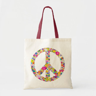 Peace Flowers Tote Bag