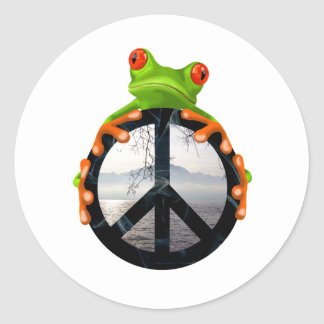 peace frog1 round sticker