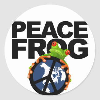 Peace, Frog-2 Round Sticker